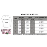 Guide des tailles sweat Hunter x Hunter coton